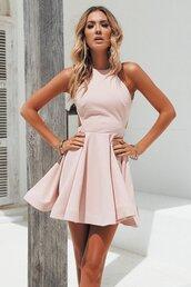 dress,backless mini dress,blush,pink,cocktail dress,prom dress