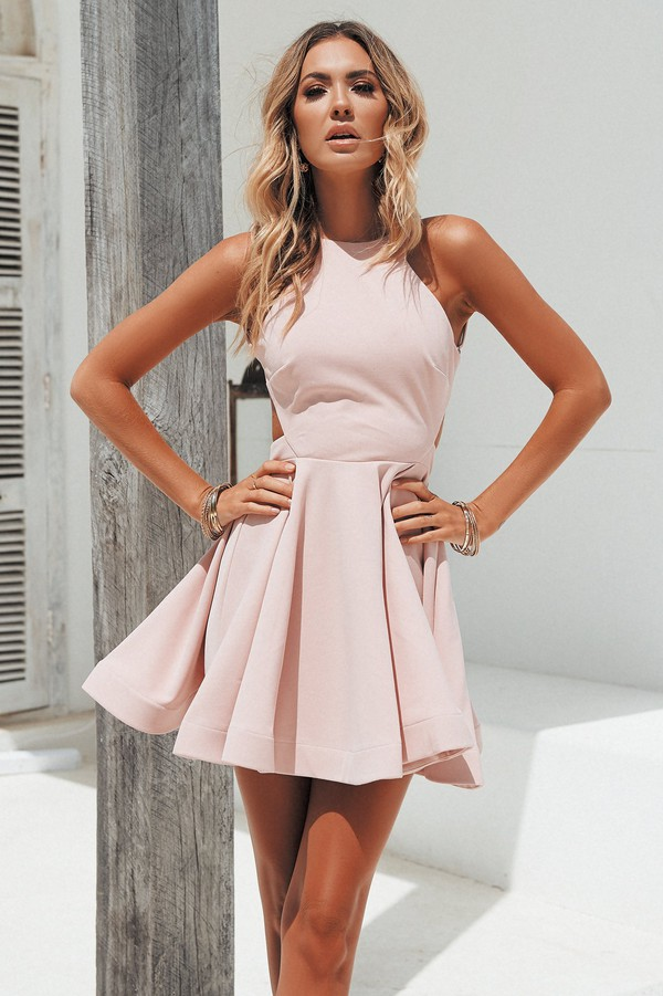 dress backless mini dress blush pink cocktail dress prom dress