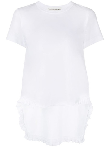 Comme Des Garçons Girl rear-ruffled cotton T-shirt in white