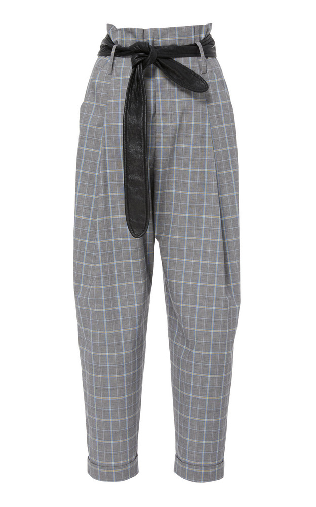 Marissa Webb Anders Plaid Pant with Leather Belt in print