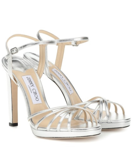 Jimmy Choo Lilah 120 leather sandals in silver