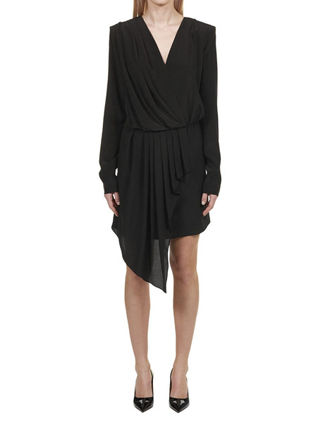 Givenchy Short Draped Wrap Dress in nero