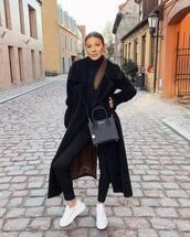bag,black bag,white sneakers,long coat,max mara,black coat,faux fur coat,black skinny jeans,black turtleneck top,michael kors
