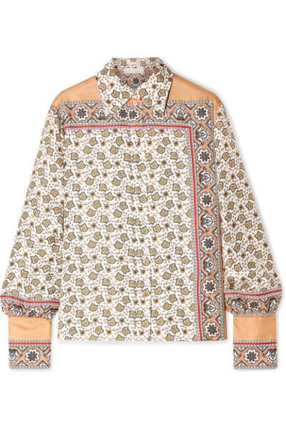 Chloé Chloé - Printed Silk-satin Shirt - White