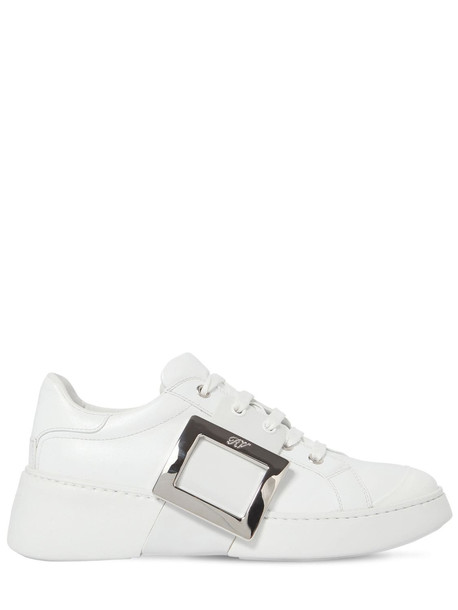ROGER VIVIER 40mm Viv Skate Buckled Leather Sneakers in white