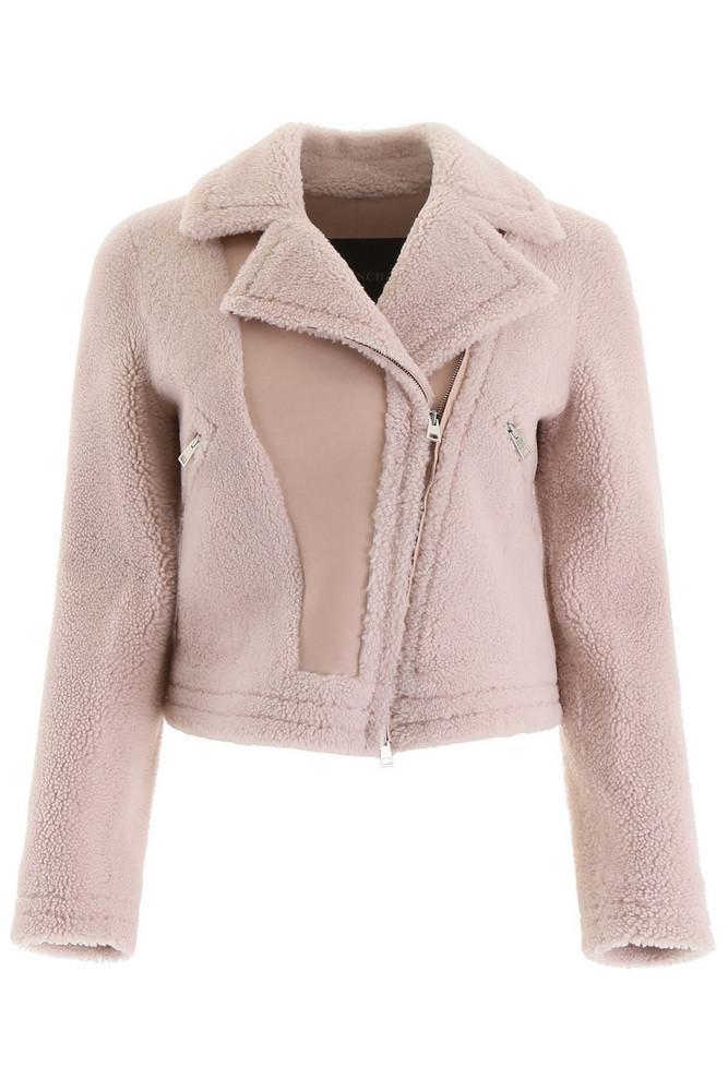 Blancha Shearling Biker Jacket in pink