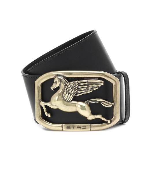 Etro Pegaso leather belt in black