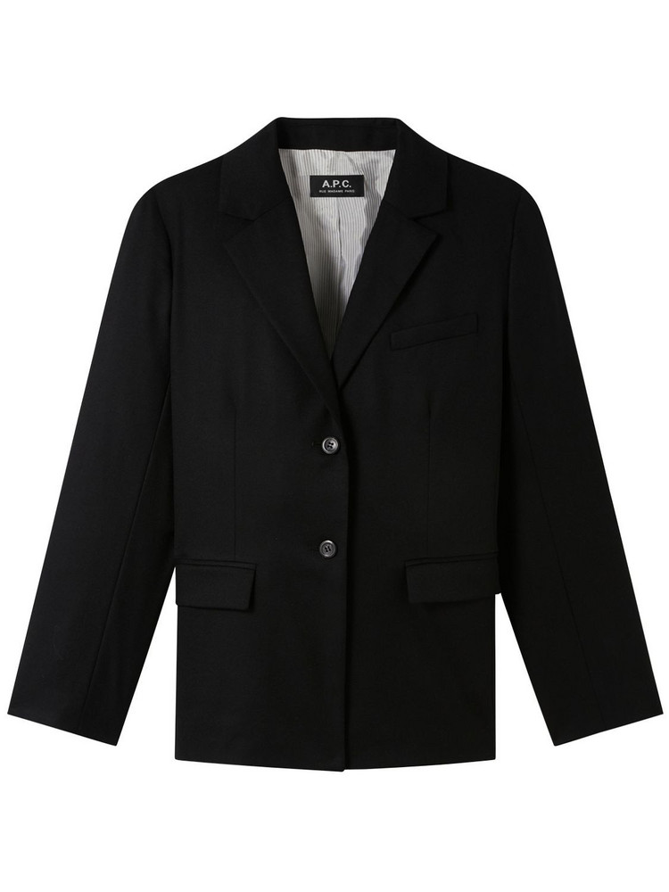A.P.C. Barry Wool Flannel Blazer in black