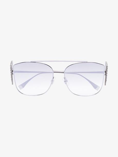 Fendi Eyewear metallic crystal F metal frame sunglasses