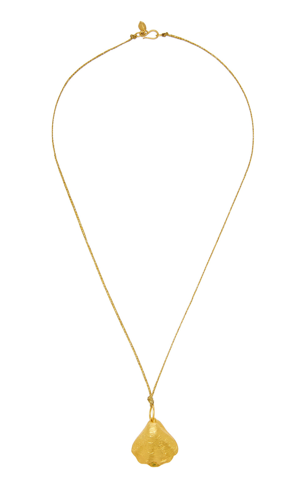 Pippa Small Large Oyster Pendant On Cord in gold