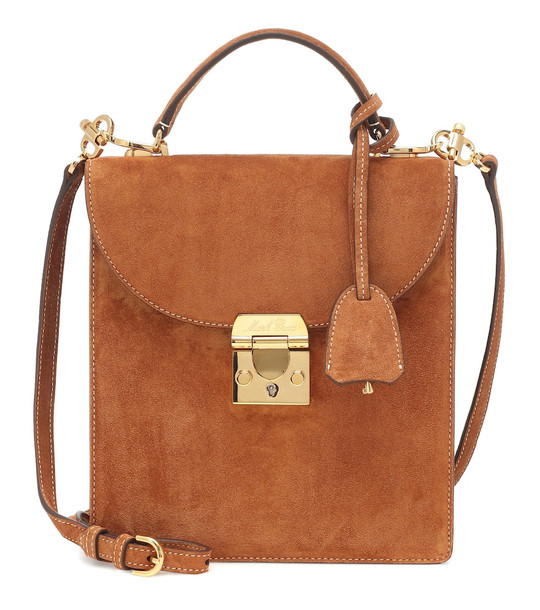 Mark Cross Uptown suede shoulder bag in brown