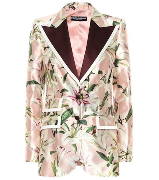 Dolce & Gabbana Floral silk blend blazer in pink