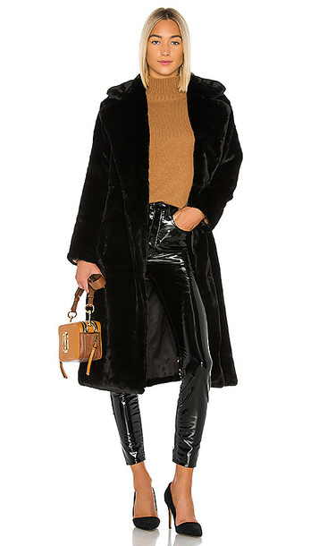 Apparis Mona Faux Fur Coat in Black
