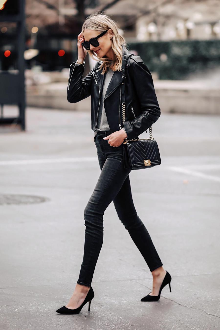 fashionjackson blogger jacket sweater jeans shoes bag sunglasses leather jacket black jeans chanel bag high heel pumps black jacket pumps black skinny jeans high waisted jeans black bag black sunglasses