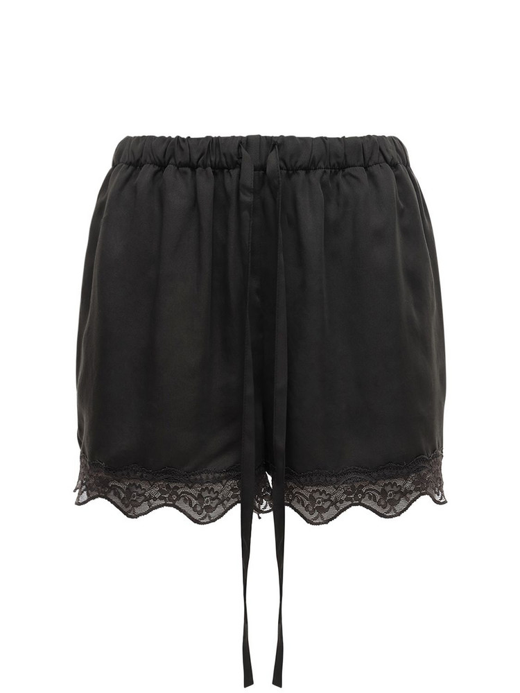 UNDERPROTECTION Carry Satin & Lace Shorts in black