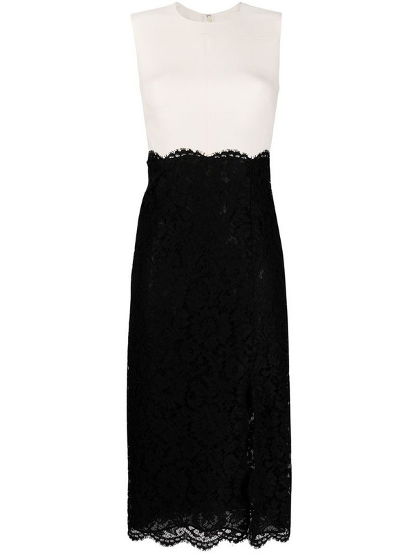 Valentino lace-panelled midi dress in black