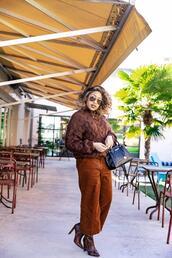 mattieologie,blogger,sweater,pants,shoes,sunglasses,bag,knitted sweater,winter outfits,handbag