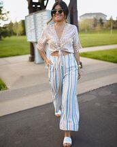 top,wrap top,lace,slide shoes,striped pants,wide-leg pants