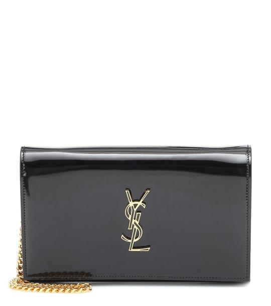 Saint Laurent Kate patent leather clutch in black