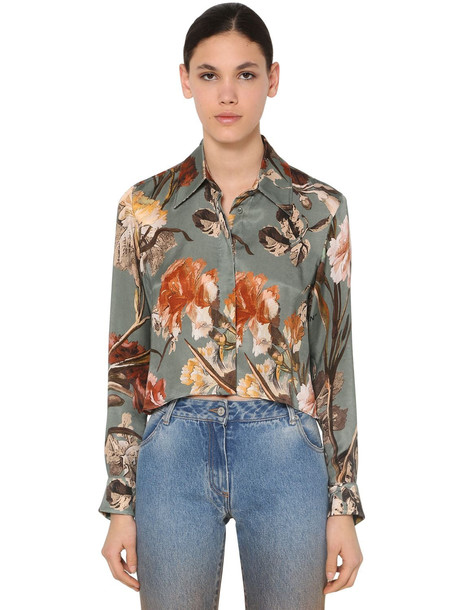 OFF WHITE Cropped Cupro Satin Shirt