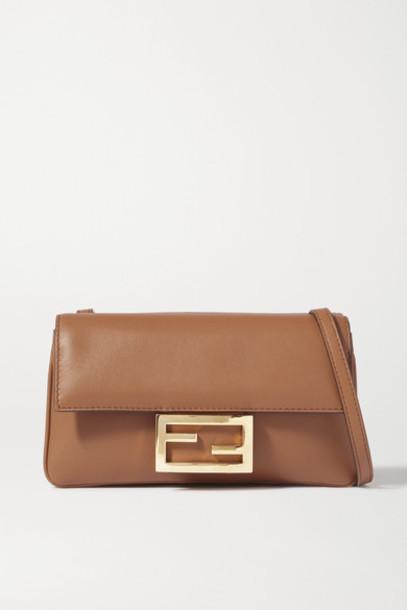 Fendi - Duo Baguette Leather Shoulder Bag - Brown