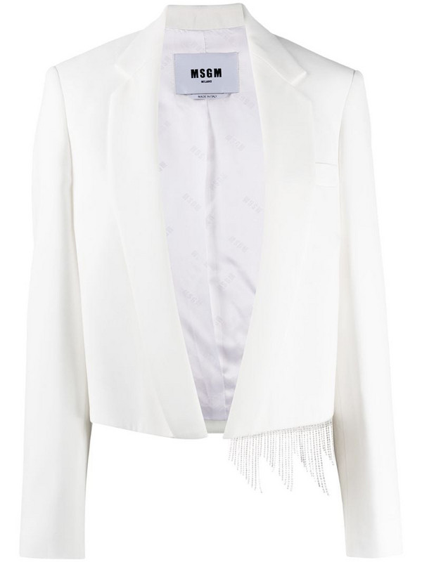 MSGM crystal trim blazer in white