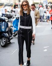 jumpsuit,black jumpsuit,karl lagerfeld,sleeveless,patent shoes,white top