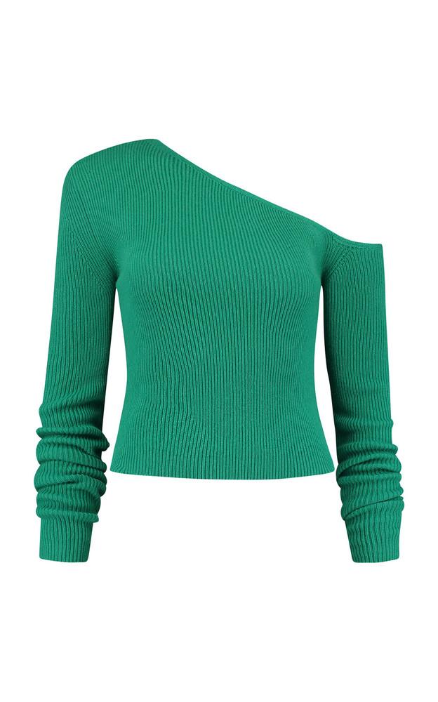 Gauge81 Derby Cashmere Off-Shoulder Knit Top in green
