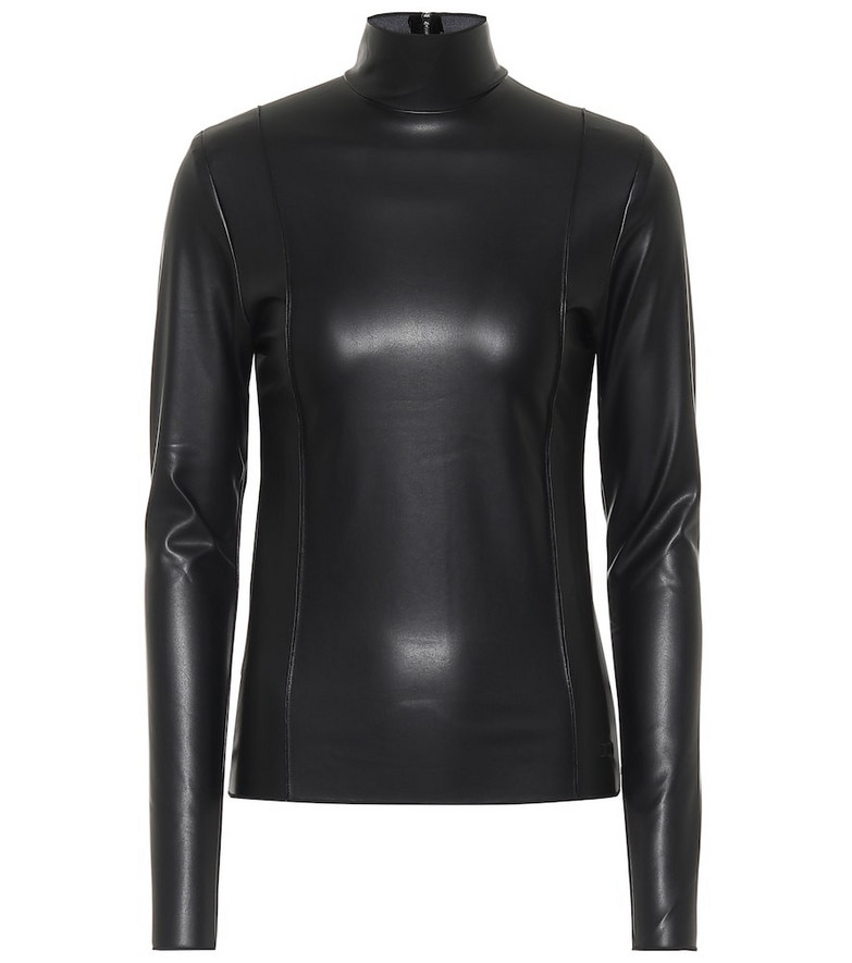 Peter Do Faux leather turtleneck top in black