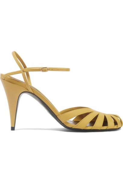 The Row - Tango Cutout Leather Sandals - Marigold
