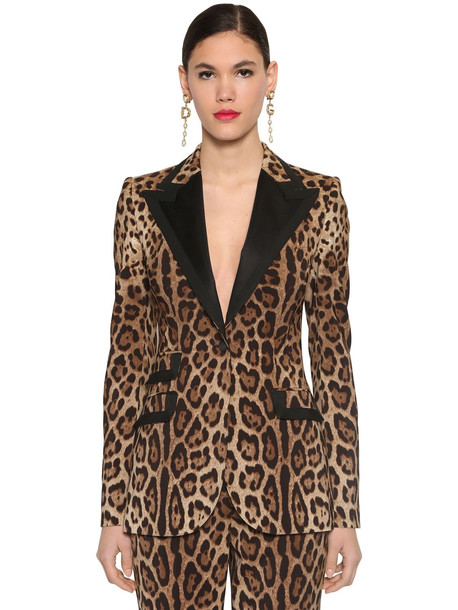 DOLCE & GABBANA Printed Stretch Wool Canvas Blazer in leopard
