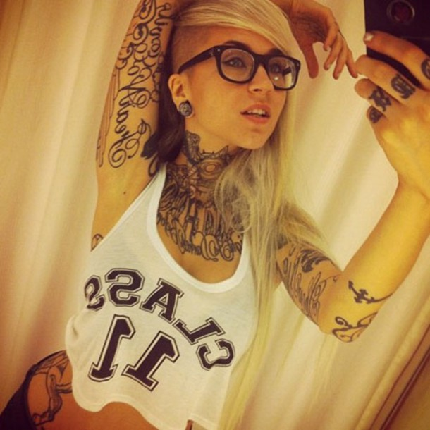 top tattoo class 11 white blonde hair loose rock