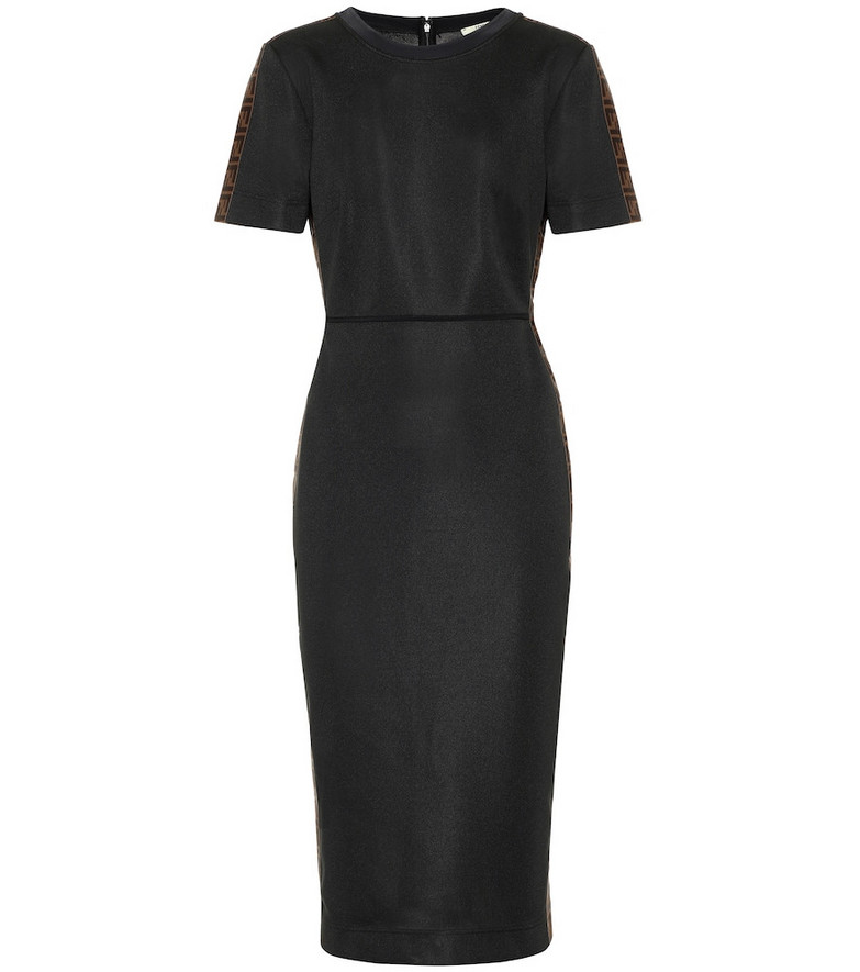 Fendi Crêpe midi dress in black