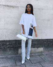 top,white t-shirt,dsquared,skinny jeans,cropped jeans,white bag