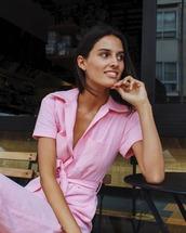 jumpsuit,pink jumpsuit