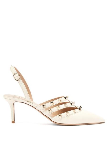 Valentino - Rockstud Slingback Leather Pumps - Womens - White