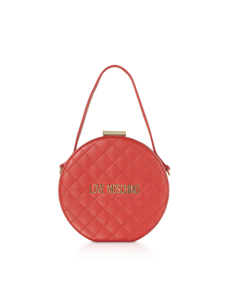 Love Moschino Quilted Eco-leather Round Bag in red