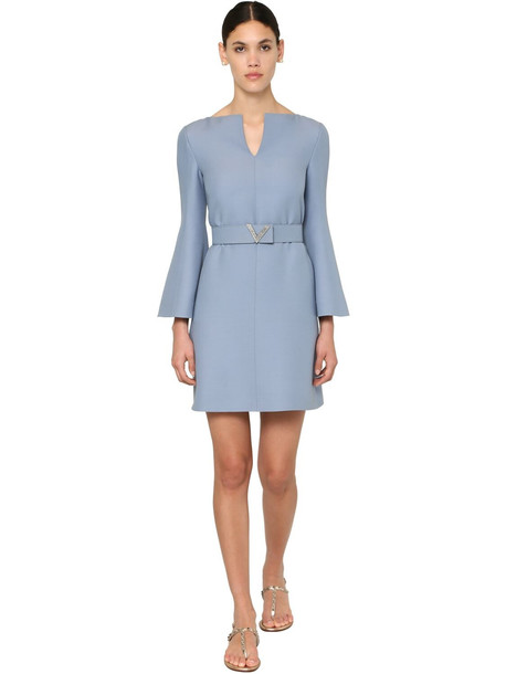 VALENTINO Belted Crepe Couture Mini Dress in blue