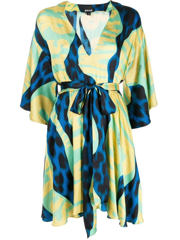Just Cavalli graphic-print tie-waist satin dress in blue