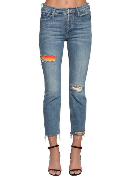 MOTHER The Mid Rise Button Fly Denim Jeans in blue