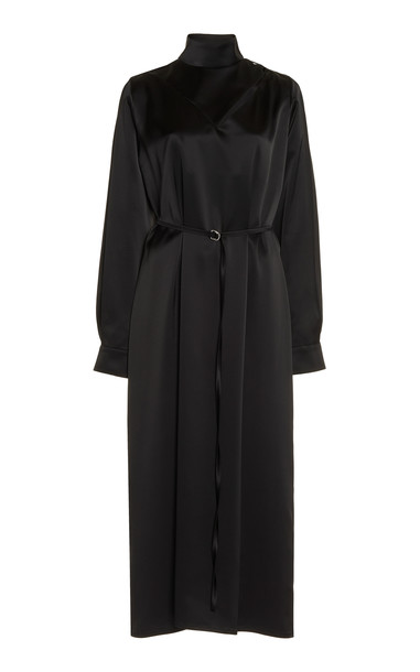 Boyarovskaya Belted Crepe Midi Dress in black