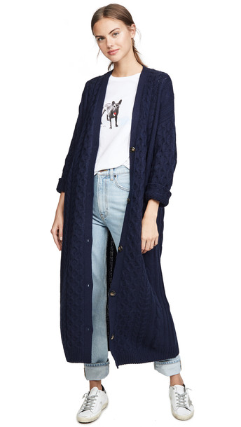 Sablyn Cable Cashmere Cardigan in navy