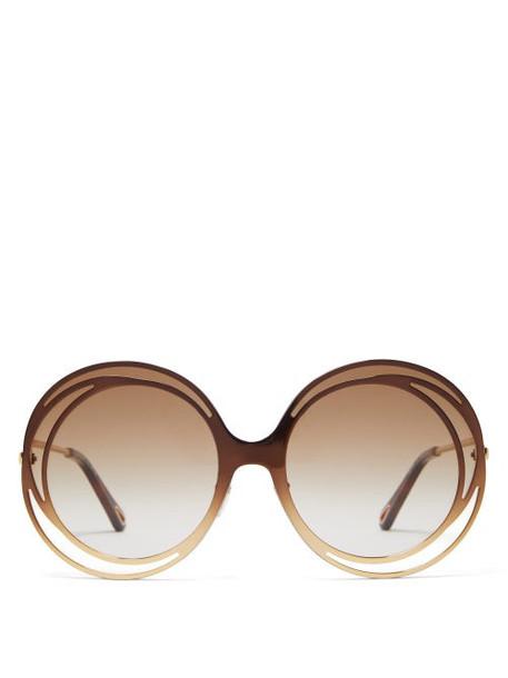 Chloé Chloé - Carlina Round Metal Sunglasses - Womens - Brown
