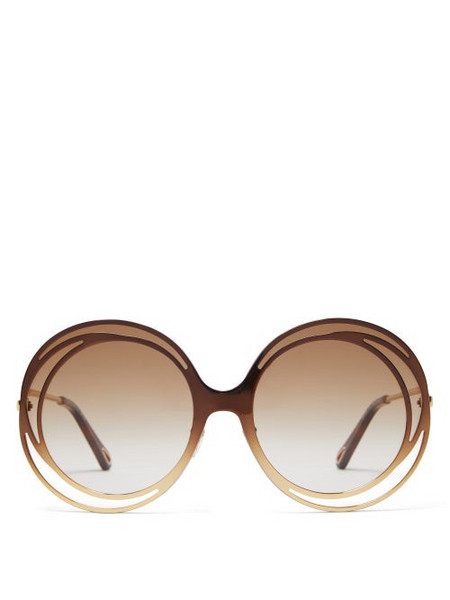 Chloé Chloé - Carlina Round Metal Sunglasses - Womens - Brown