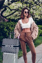 viva luxury,blogger,pants,cardigan,sunglasses,shoes,bag,top,christian dior,spring outfits,chunky cardigan,dior,dior bag,crop tops