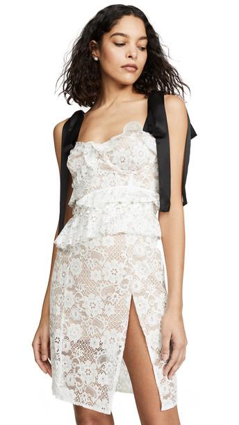 For Love & Lemons Fabienne Midi Dress in white