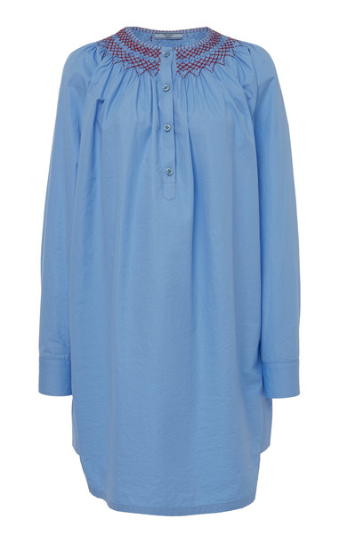Prada Smocked Cotton Tunic in blue