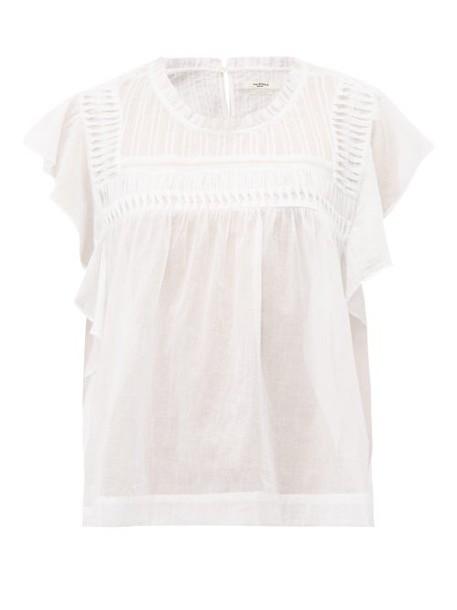 Isabel Marant étoile Layona Folded Ruffled Cotton Top Womens White
