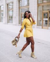 romper,long sleeves,ankle boots,snake print,handbag
