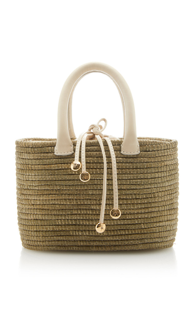 Cesta Collective Mini Leather-Trimmed Sisal Tote in neutral